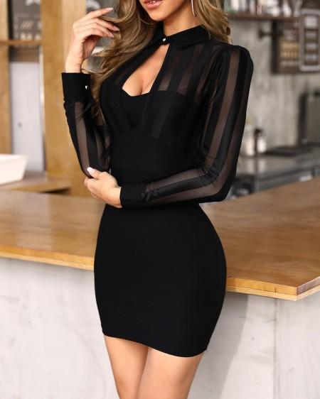 Sheer Mesh & Stripes Keyhole Front Bodycon Dress