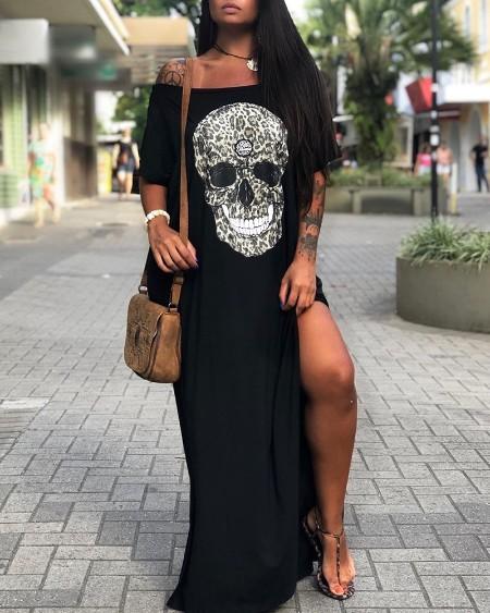 Off Shoulder Skull Print Slit Maxi Dress