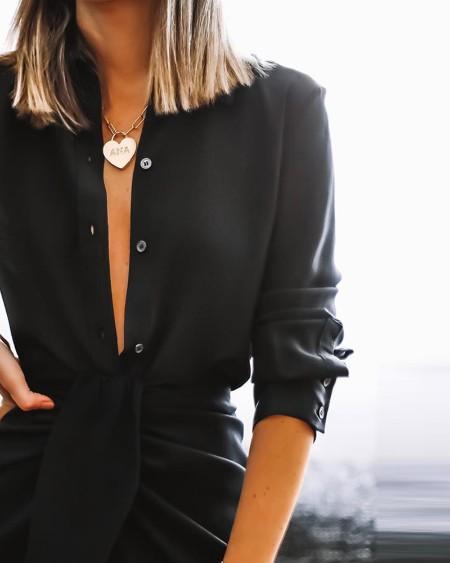 Plain Button Design Shirt & Twisted Slit Skirt Set