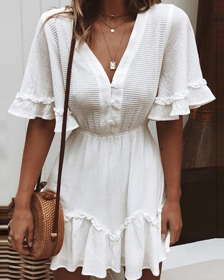 V Neck Ruffle Smock Dress