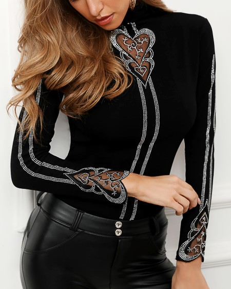 Studded Heart Pattern Blouse