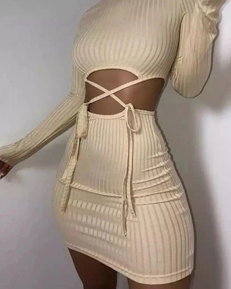 Ribbed Solid Cutout Waist Bodycon Dress