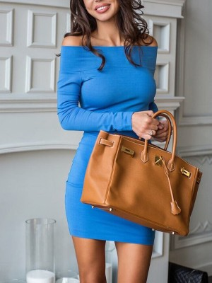 Solid Off Shoulder Long Sleeve Bodycon Dress