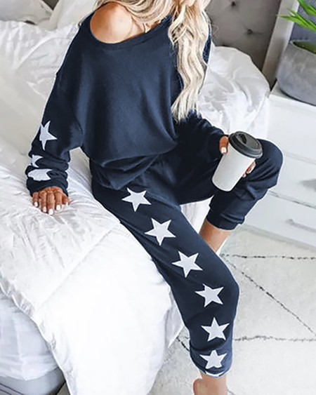 Star Print Top & Pants Pajamas Sets