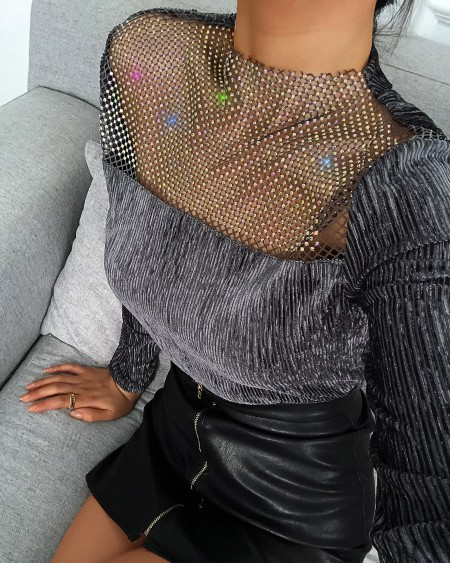 Studded Fishnet Cutout Back Long Sleeve Top