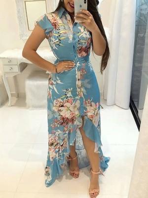 Floral Print Ruffled Dip Hem Maxi Dress