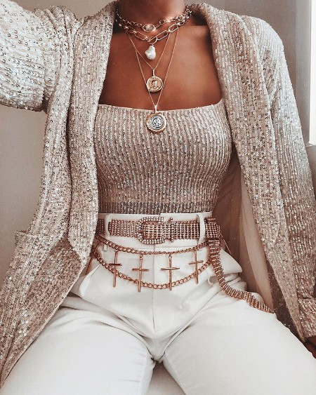 Sequin Vest Top & Blazer Set