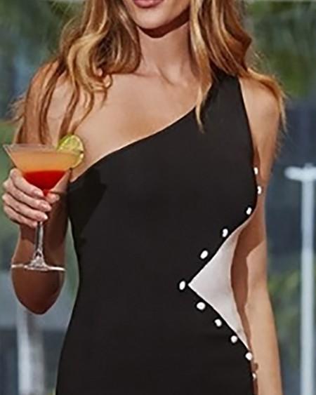 One Shoulder Colorblock Insert Bodycon Dress