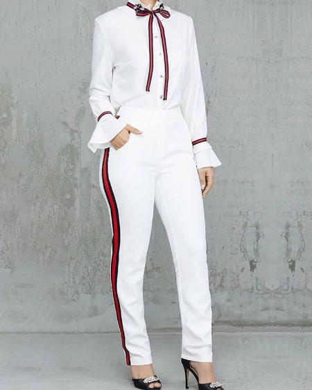 boutiquefeel / Tied Neck Bell Sleeve Shirt & Striped Tape Side Pant Sets