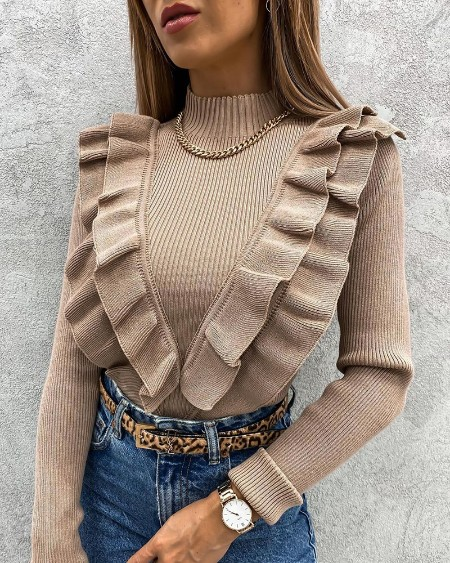 Ruffles Hem Long Sleeve Sweater