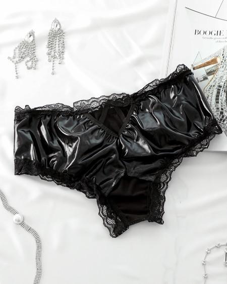 Crochet Lace Trim PU Cutout Panties
