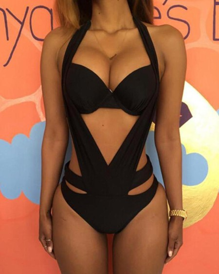 fb35ff800d Halter Cut Out Backless One Piece Swimsuit ...