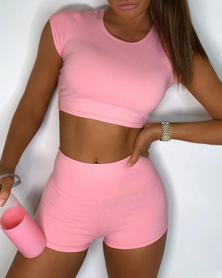 Solid Crop Top & Ruched Shorts Set