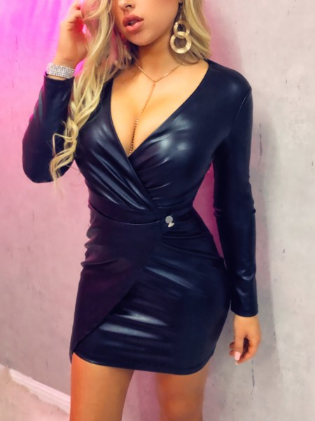 Deep V-Neck Wrap PU Dress
