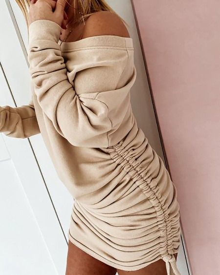 Solid Drawstring Ruched Long Sleeve Dress