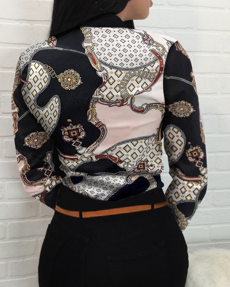 Chain Scarf Print Button Front Long Sleeve Shirt