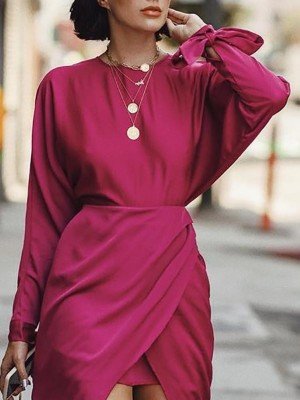 Solid Tied Sleeve Fake Two-Piece Dress