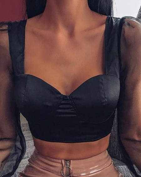 Black Mesh Sleeve Crop Top