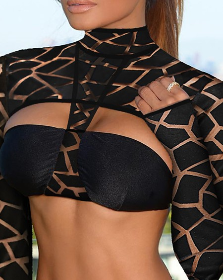 Cutout Front Mesh Long Sleeve Bikini Set