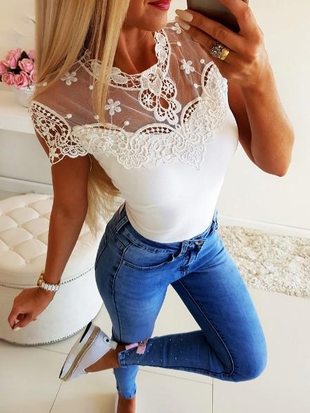 Short Sleeve Lace Yoke Casual Top