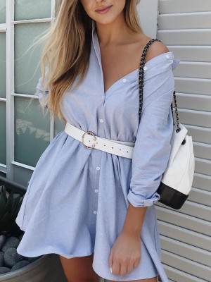 Solid Button Through Long Sleeve Shirt Dress