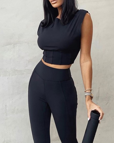 Ruched Tank Crop Top & High Waist Pants Set