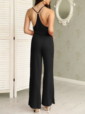 Low Cut Ruched Tied Waist Wide Leg Wrapped Jumpsuit