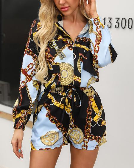 boutiquefeel / Long Sleeve Chain Print Shirt And Short Sets