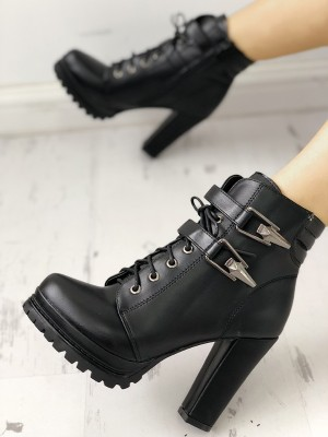 Lace-Up Buckle Platform Chunky Heeled Ankle Boots