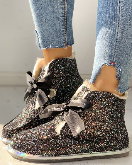 boutiquefeel / Glitter Tied Sequins Flat Ankle Boots