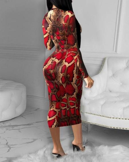 Snakeskin Long Sleeve Skinny Midi Dress