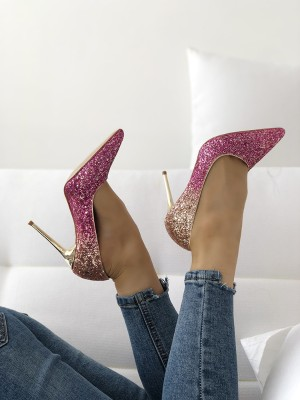 Womens Pointed Toe Sequins Gradient Party Pumps Shoes