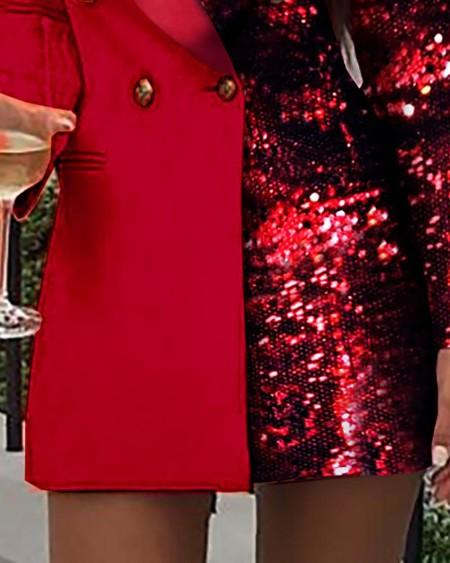 Colorblock Sequins Long Sleeve Blazer Dress