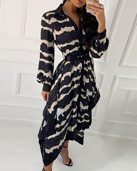 Wave Print Irregular Shirt Dress