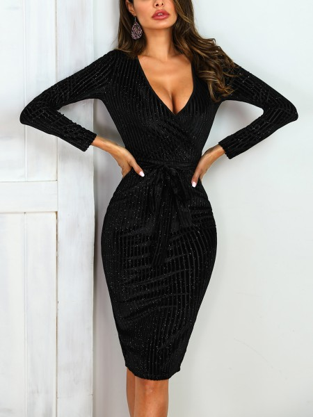 Striped Surplice Front Belted Glitter Party Dress