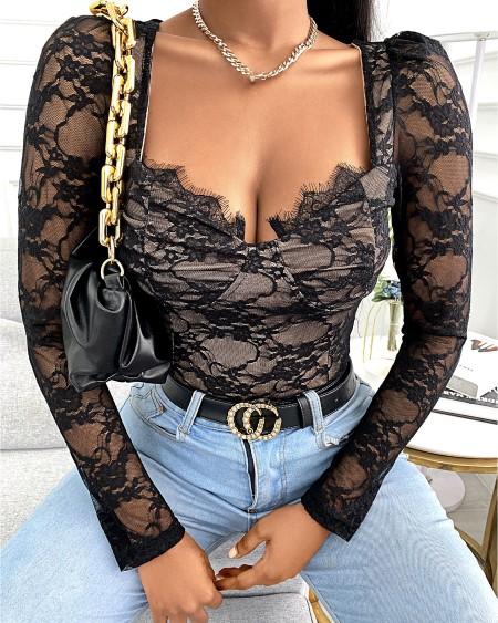 Eyelash Lace Trim Long Sleeve Top