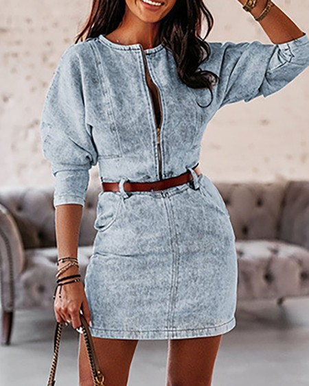 Zipper Design Pocket Design Denim Dress