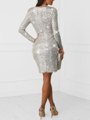 Plunge Wrap Overlap Sequin Dress
