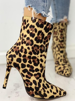 Leopard Print Pointed Toe Thin Heeled Boots
