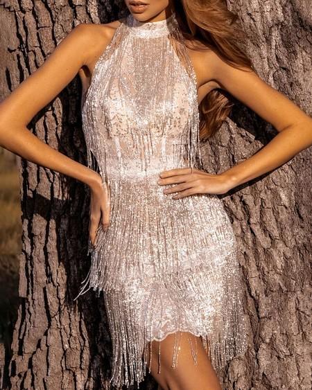 Glitter Mock Neck Sleeveless Tassel Design Bodycon Dress