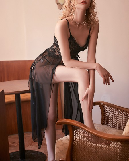 High Slit Sheer Mesh Lace Babydoll With Panty
