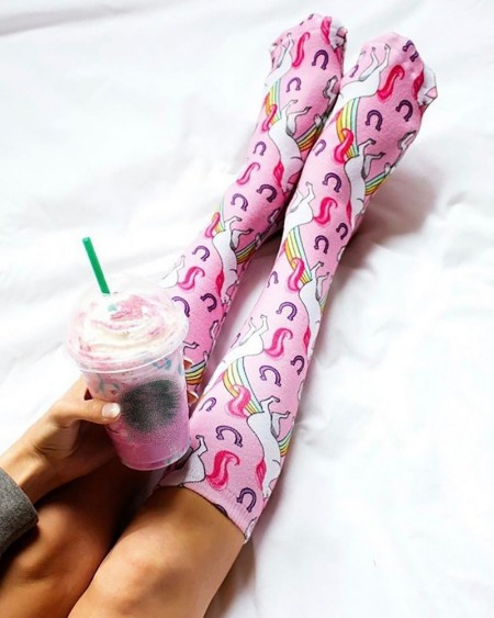 Unicorn Print Colorblock Long Socks