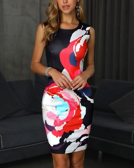 Sleeveless Floral Print Slit Back Bodycon Dress