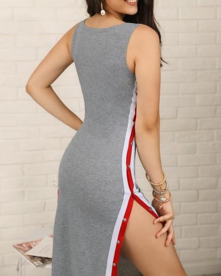Striped Tape Split Button Side Bodycon Dress