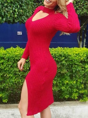 Cut Out Chest Slit Long Sleeve Dress
