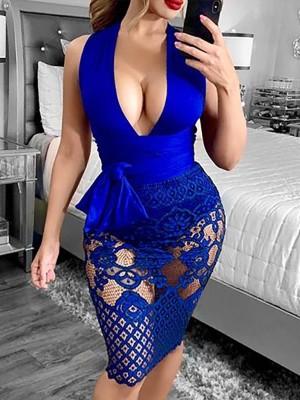 Plunge Tie Waist Lace Overlay Sheath Dress