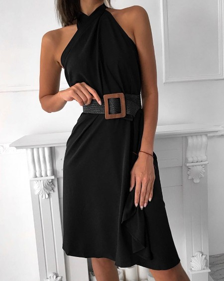 Halter Sleeveless Ruched Design Dress