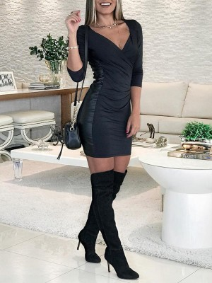 Solid Side Patchwork Scrunch Bodycon Dress