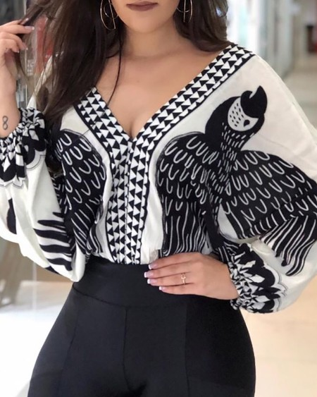 Bird Print Tied Open Back Blouse
