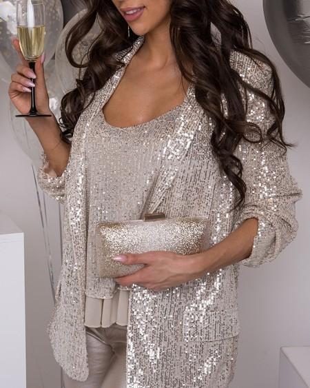 boutiquefeel / Sequin Vest Top & Blazer Set